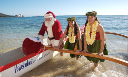 Santa Ditches Rudolph For An Outrigger Canoe At Oahu Hotel